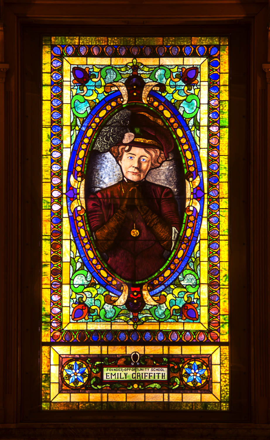 Emily Griffith Stained Glass Window
